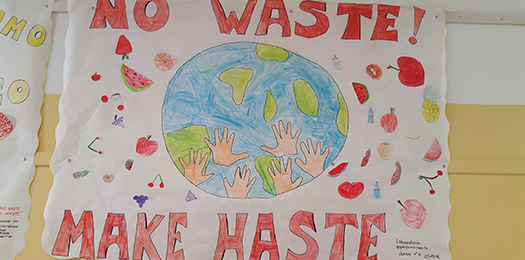 Children learning about food waste