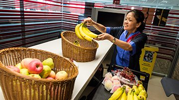Sodexo staff stock up fruits