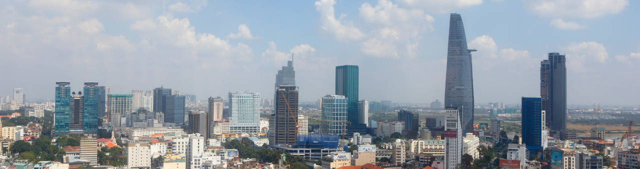 The skyline of Ho Chi Minh City in Vietnam where Sodexo is based